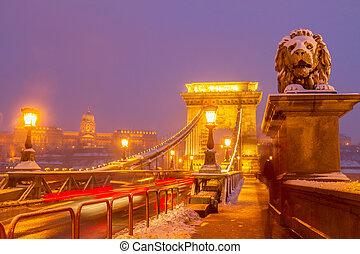 橋梁, 布達佩斯, 夜晚, 鏈子, 匈牙利