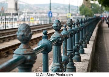 橋梁, 布達佩斯, 老, 柵欄, 鏈子,  metall