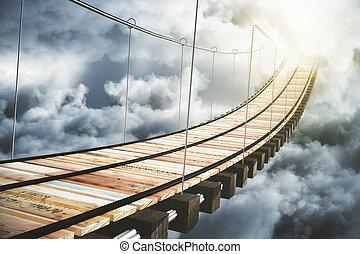 橋梁, 概念, 云霧, 木制, 去, 陽光