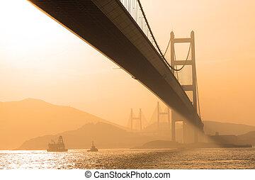 橋梁, 看法, 傍晚, 在下面