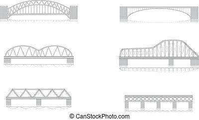 橋梁, 矢量, grayscale, 各種各樣