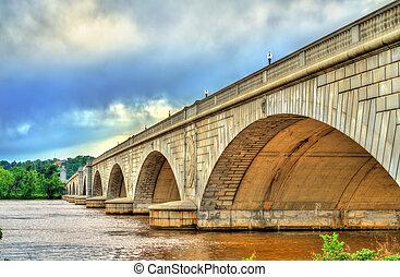 橋梁, 紀念館, d.c, arlington, 波托馬克河, 華盛頓, 河, 橫跨
