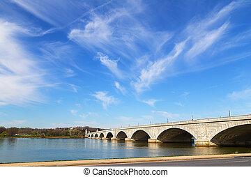 橋梁, 紀念館, spring., virginia., arlington, 華盛頓, 聯結, dc, 早晨, 早, 波托馬克河河, 橫跨