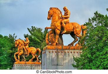 橋梁, 藝術, 雕像, d.c, 華盛頓, -, 紀念館, arlington, 戰爭