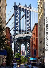 橋梁, 街道, 曼哈頓, 看法