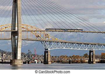 橋梁, 訓練, 河, 上面