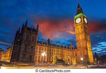 橋梁, 議會,  Ben, 黃昏, 房子,  -,  westminster, 倫敦, 英國, 大