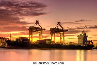 橋梁, 貨物容器, 背景, 工作, 黃昏, 起重機, 造船厂, 出口, 後勤, 進口, 貨運船