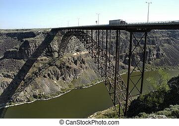 橋梁, 運輸, 卡車, 開車, 大, 在上方, 峽谷, 交通