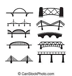 橋梁, 集合, 背景。, 矢量, 白色, 圖象