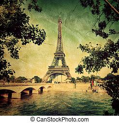 橋梁, 風格, eiffel, 葡萄酒, 曳网, 巴黎, france., retro, 塔, 河