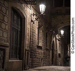 橋梁, bisbe, 巴塞羅那, gotic, del, carrer, barri