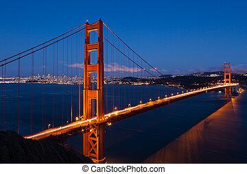 橋梁, francisco, san, 黃金, 夜晚, 門