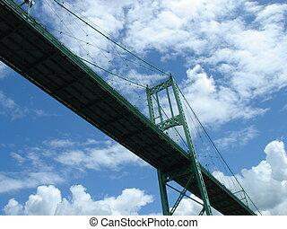 橋, から, 下に