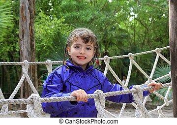 橋, わずかしか, 公園, ロープ, 冒険, 女の子, ジャングル