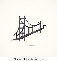 橋, アイコン, 門, 金
