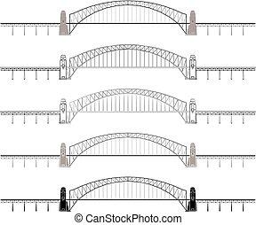 橋, アウトライン, 港, ∥たった∥, シドニー, 有色人種