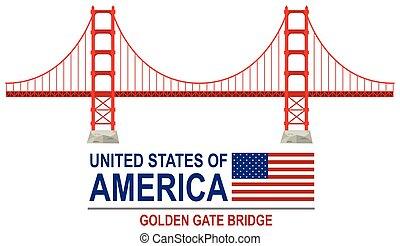 橋, アメリカ, 門, 金