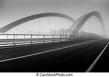橋, イメージ, -, 霧, 黒, 白, 道