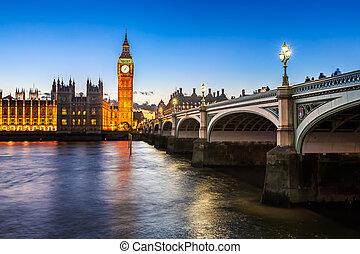 橋, エリザベス, 大きい, 女王, wesminster, タワー, ベン, 照らされた