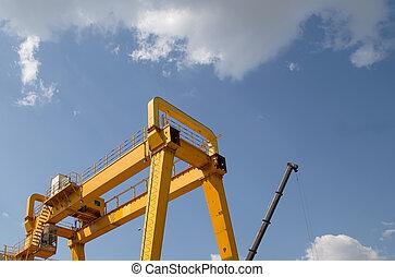 橋, ガントリー, 貨物, 黄色, 建設クレーン
