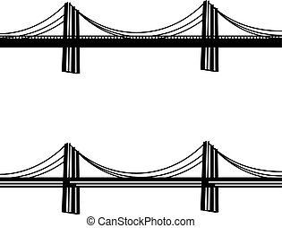 橋, ケーブル, シンボル, 金属, 黒, 懸濁液