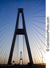 橋, シルエット, 朝