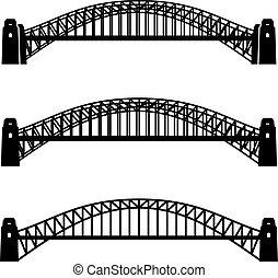 橋, シンボル, 金属, 港, 黒, シドニー
