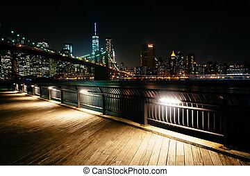 橋, スカイライン, bro, brooklyn, 夜, 見られた, マンハッタン