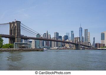 橋, スカイライン, brooklyn, 日中, マンハッタン