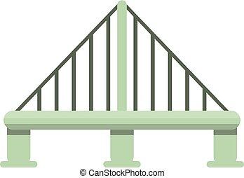 橋, スタイル, ケーブル, 金属, アイコン, 漫画