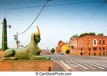 橋, スフィンクス, エジプト人, st. 。 petersburg, 彫刻, 都市
