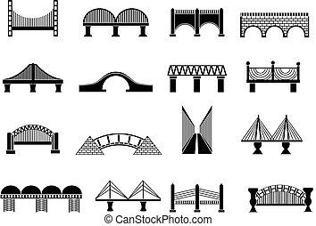橋, セット, アイコン