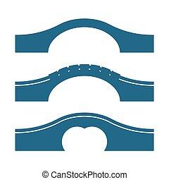 橋, セット, 弧, 隔離された, ベクトル, 背景, イラスト, 白
