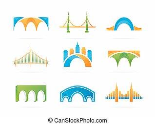 橋, セット, 抽象的, 接続, ベクトル, ロゴ