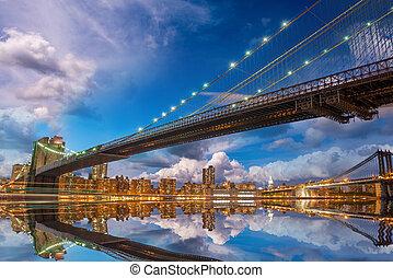 橋, -, パノラマである, brooklyn, すばらしい, 日没, 反射, york., 新しい, マンハッタン