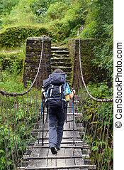橋, ヒマラヤ山脈, trekker, 渡ること, 懸濁液