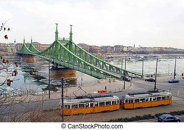 橋, ブダペスト, hungary., エリザベス