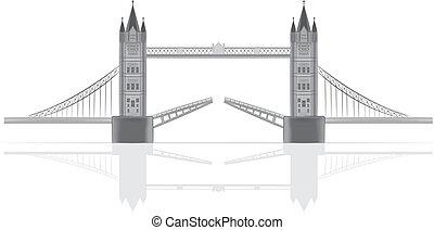 橋, ベクトル, イラスト