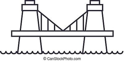 橋, ベクトル, ストローク, editable, イギリス, 印, 背景, イラスト, アイコン, 線