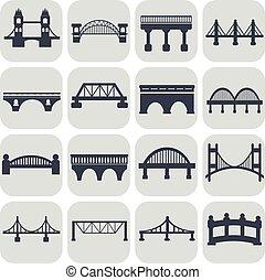橋, ベクトル, セット, 隔離された, アイコン