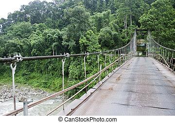 橋, ボーダー, sikkim, インド, 懸濁液