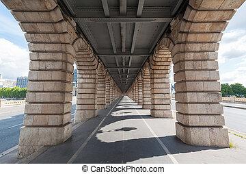 橋, ポイント, パリ, bercy, 消失, ビューの下で