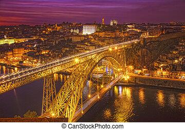 橋, ポルトガル, porto, 上に, 夜, douro, luis, 川