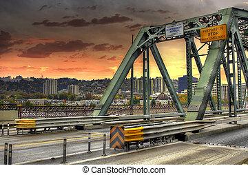 橋, ポートランド, hawthorne, オレゴン