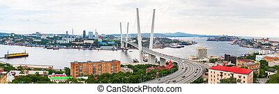 橋, ロシア, 金, ケーブルとどまられる, 横切って, rog, パノラマである, zolotoy, vladivostok, 角, ∥あるいは∥, 光景