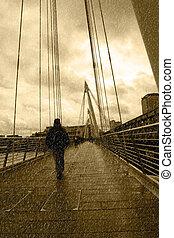 橋, ロンドン, 都市, 雨が降る
