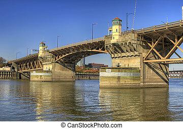 橋, 上に, オレゴン, 2, willamette, ポートランド, 川, burnside