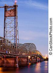 橋, 上に, 川, コロンビア, オレゴン