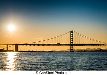 橋, 上に, 川, スコットランド, 日没